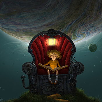 ANTONIO JAVIER CAPARO is an illustrator who create this illustration of  a little girl reading a book