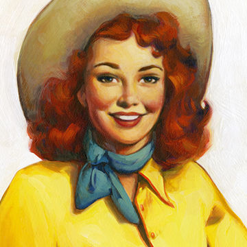 Michael Koelsch is an award winning illustrator, graphic designer, commercial artist, and digital artist whose created this retro poster art of  cowgirl