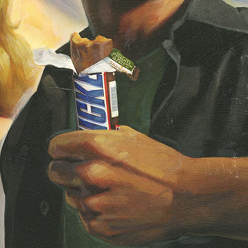 Michael Koelsch is an award winning illustrator, graphic designer, commercial artist, and digital artist whose created this retro poster art of snickers